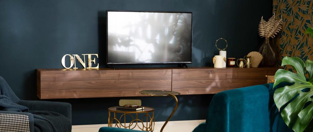 Élément mural TV horizontal finition bois foncé ETERNEL