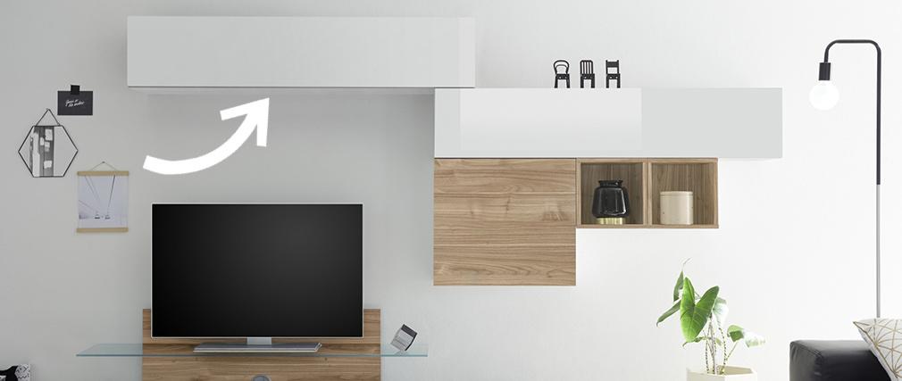 Élément mural TV horizontal laqué blanc brillant ETERNEL