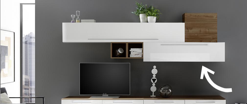 Élément mural TV laqué blanc brillant avec baguette L138 cm ETERNEL