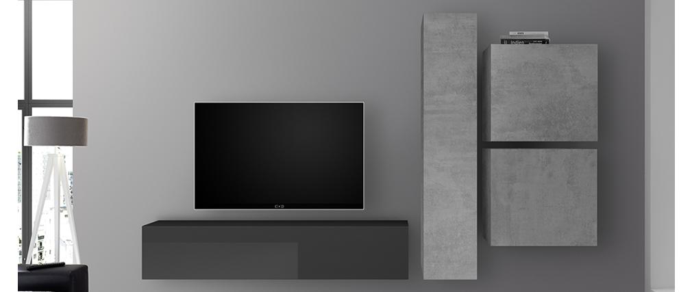 Élément mural TV vertical finition béton ETERNEL