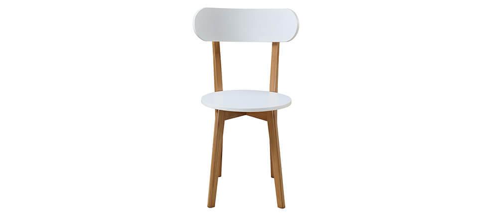 Ensemble table et 4 chaises blanc et bois LEENA