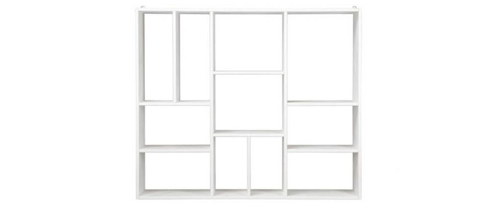 Étagère murale design compartimentée en bois blanc CASYM