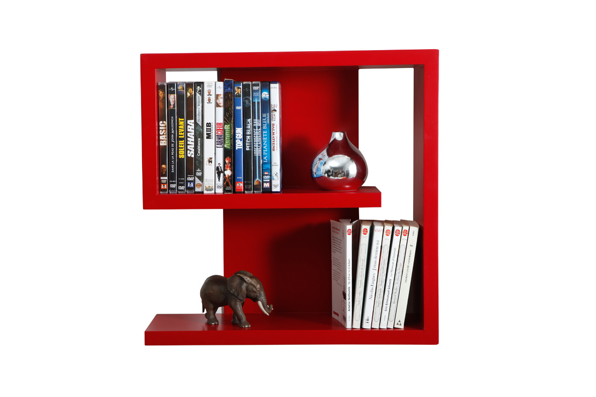 Etag re murale design rouge nine miliboo - Etagere murale rouge ...