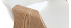 Fauteuil de bureau design blanc et bois clair ARAMIS