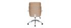 Fauteuil de bureau design blanc et bois clair ELON