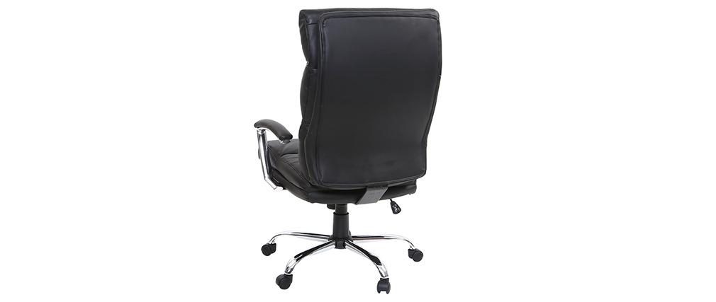 Fauteuil de bureau design cuir noir TILIO - cuir de vache