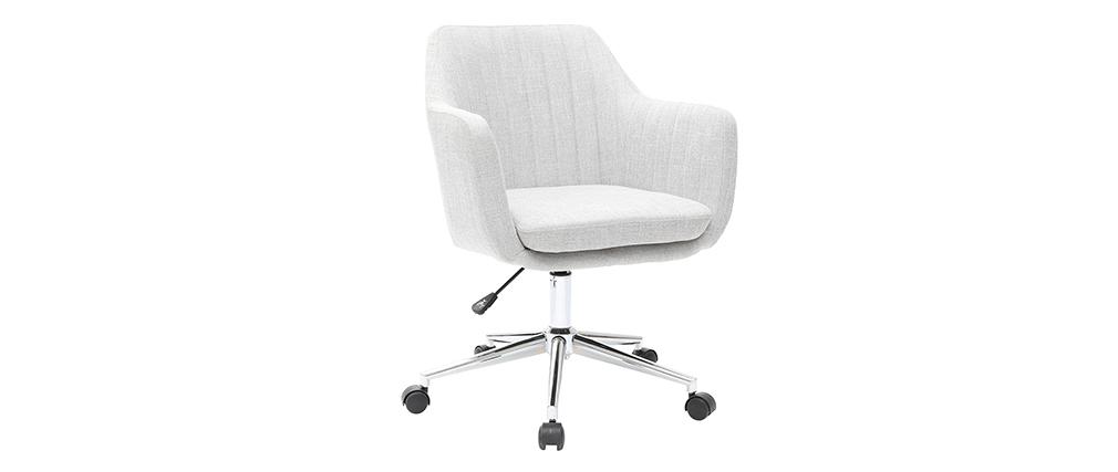 Fauteuil de bureau design en tissu gris clair ALEYNA - Miliboo & Stéphane Plaza