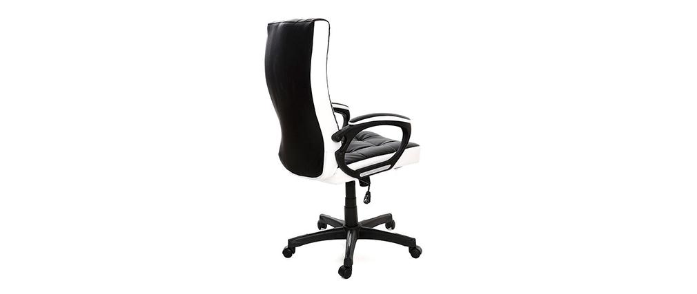 Fauteuil de bureau design noir et blanc LORENZO