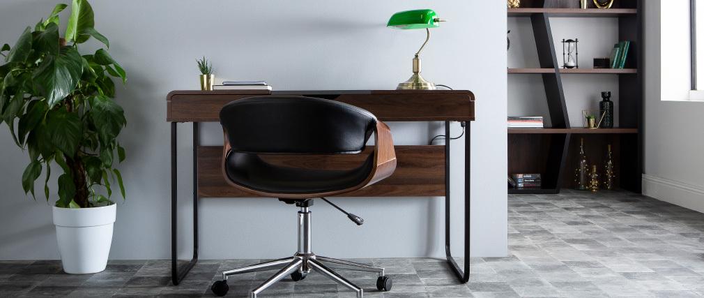 Fauteuil de bureau design noir et noyer ARAMIS