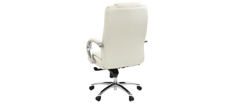 Fauteuil de bureau en cuir blanc DONATELLO - cuir de vache