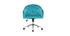 Fauteuil de bureau en velours bleu azur SHARON