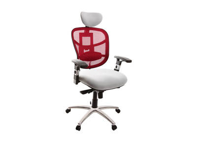 Fauteuil de bureau ergonomique bordeaux et blanc UP TO YOU