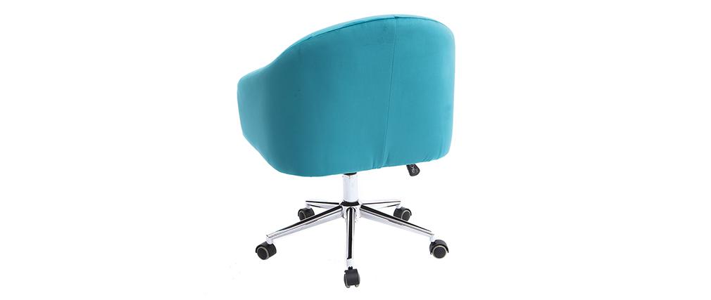 Fauteuil de bureau velours bleu azur SHARON