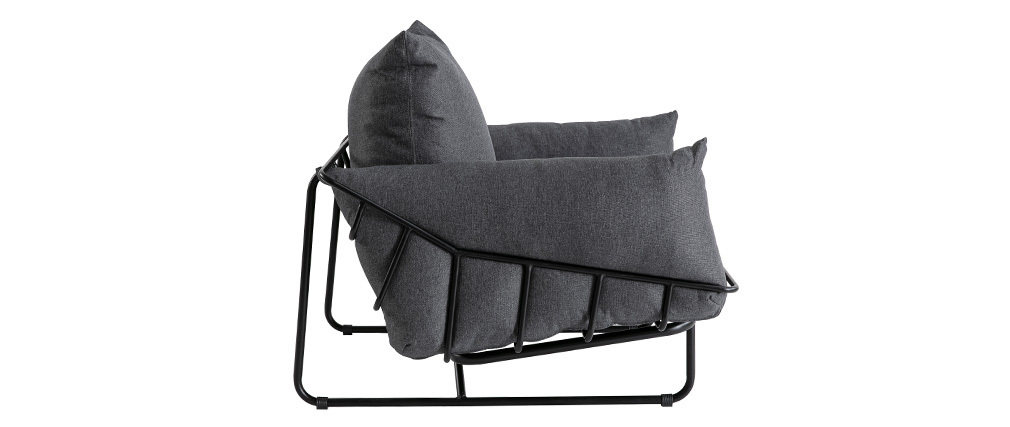 Fauteuil design en tissu gris et métal KORB