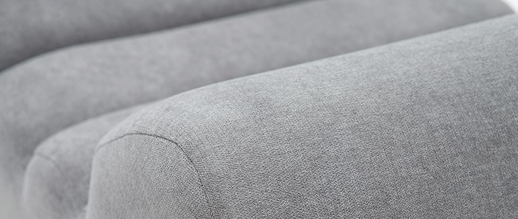 Fauteuil design tissu effet velours gris et métal noir TAYLOR