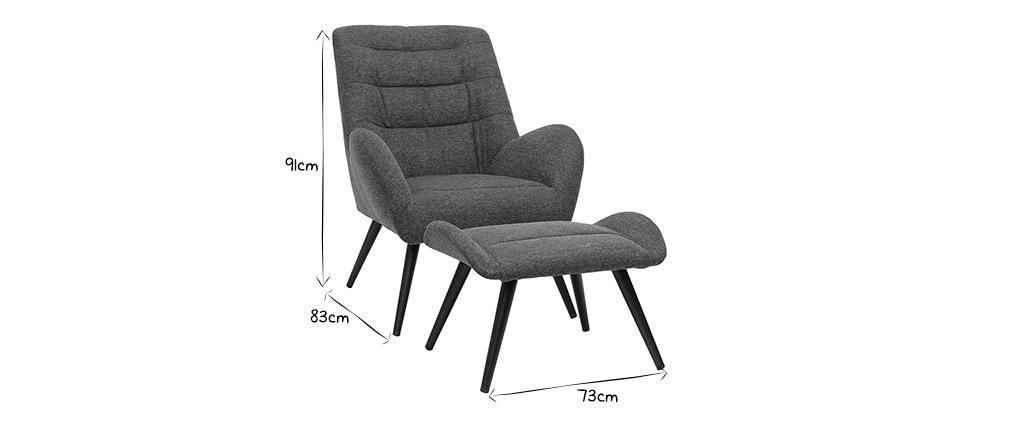Fauteuil et repose-pieds design en tissu gris ZOE