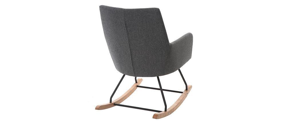 Fauteuil rocking chair design tissu gris foncé SHANA