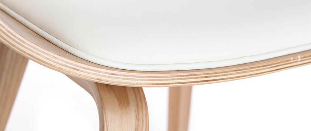 Fauteuil scandinave blanc et bois clair OKTAV