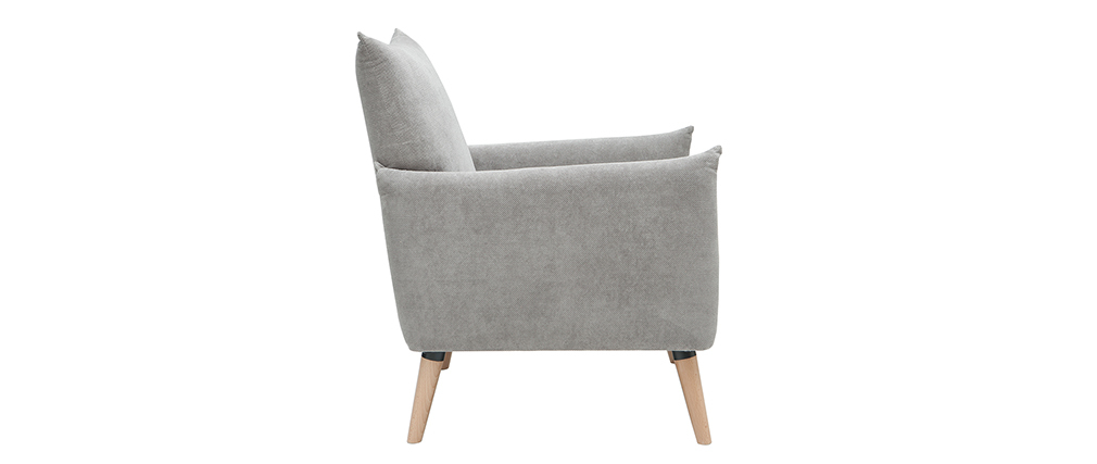 Fauteuil scandinave effet velours texturé gris clair AGAPE