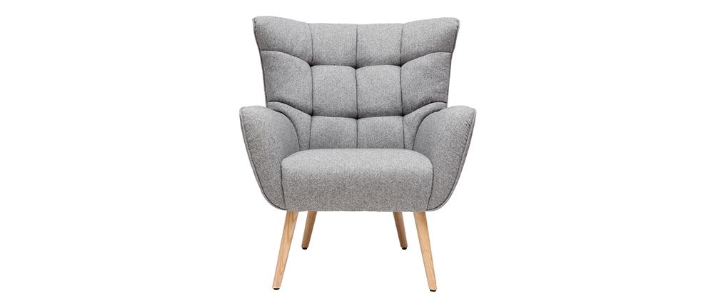 Fauteuil scandinave en tissu gris clair et bois AVERY - Miliboo & Stéphane Plaza