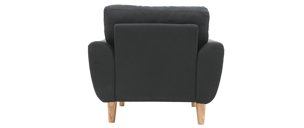 Fauteuil scandinave tissu gris anthracite ALICE