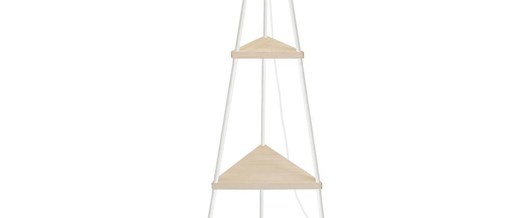 Lampadaire design métal blanc et bois YIN