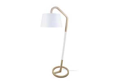Lampadaire design pied cercle bois blanc TWIST