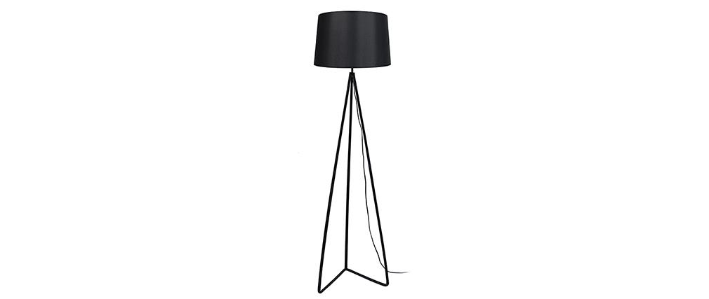 Lampadaire design pied triangle acier noir LADY