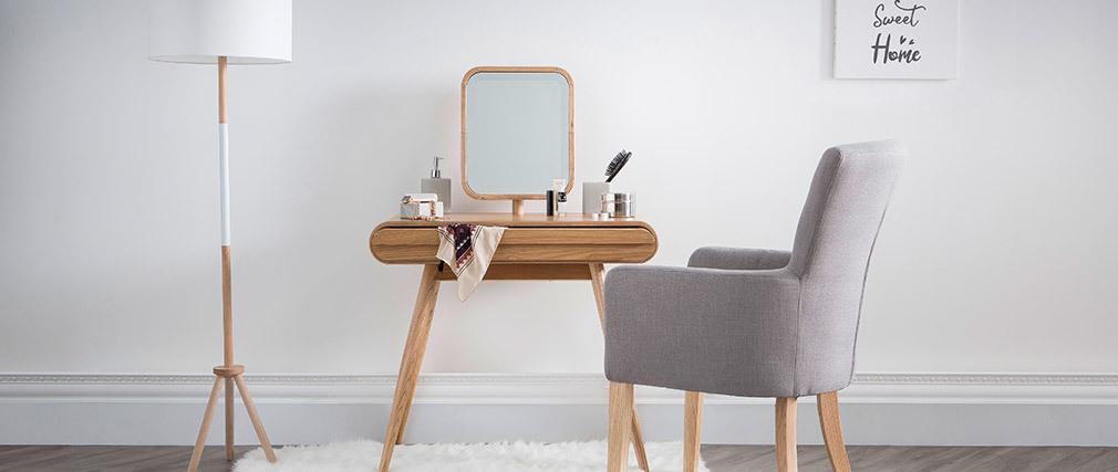 Lampadaire design trépied bois blanc ELIOT