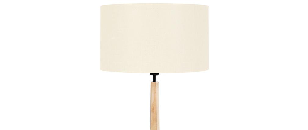 Lampadaire écru avec pied bois NIDRA