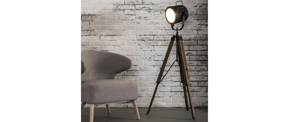 Lampadaire industriel trépied bois et métal noir STUDIO