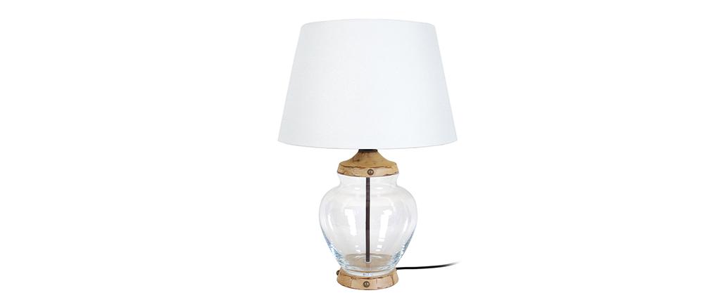 Lampe à poser design verre et bois PUKKA