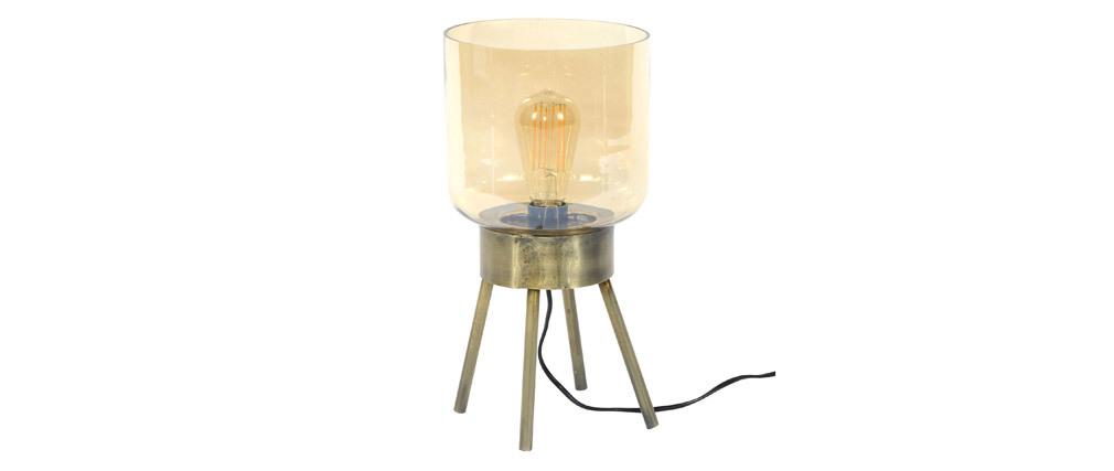 Lampe à poser en métal effet bronze et verre ambré AMBRE