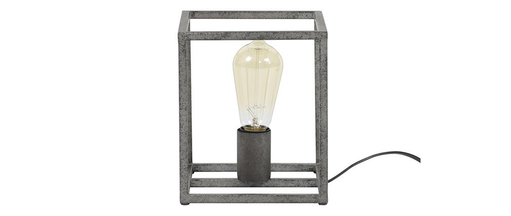 Lampe à poser industrielle en métal finition argent ancien ARCHI