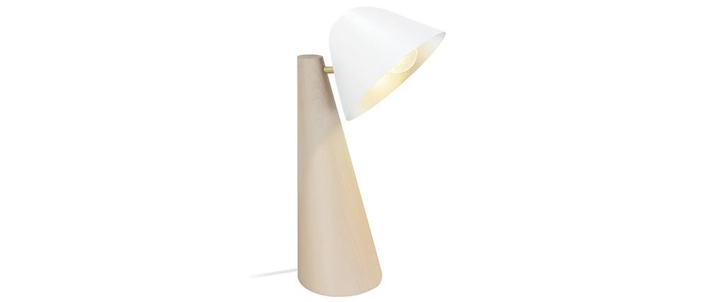 Lampe à poser scandinave bois clair et blanc FARO