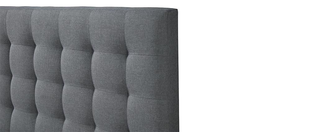 Lit 160x200 capitonné en tissu gris clair DANAE