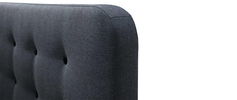 Lit 160x200 cm capitonné en tissu gris foncé HOLSEN