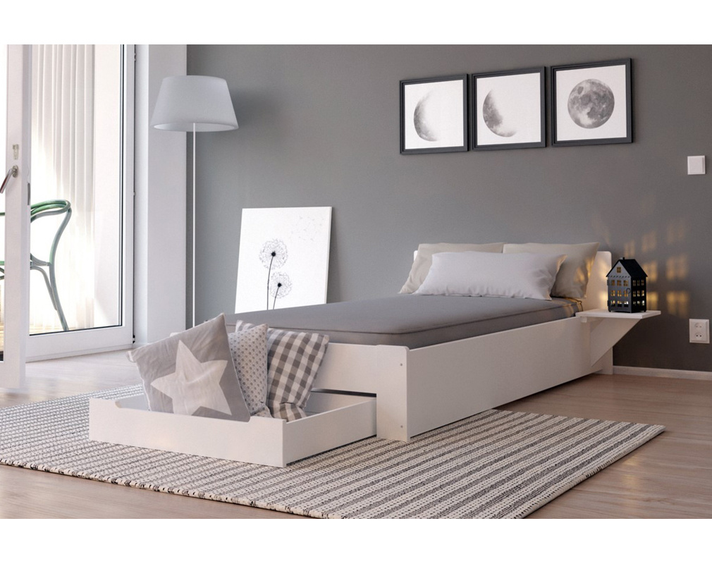 lit 90x190 design blanc avec tiroir de