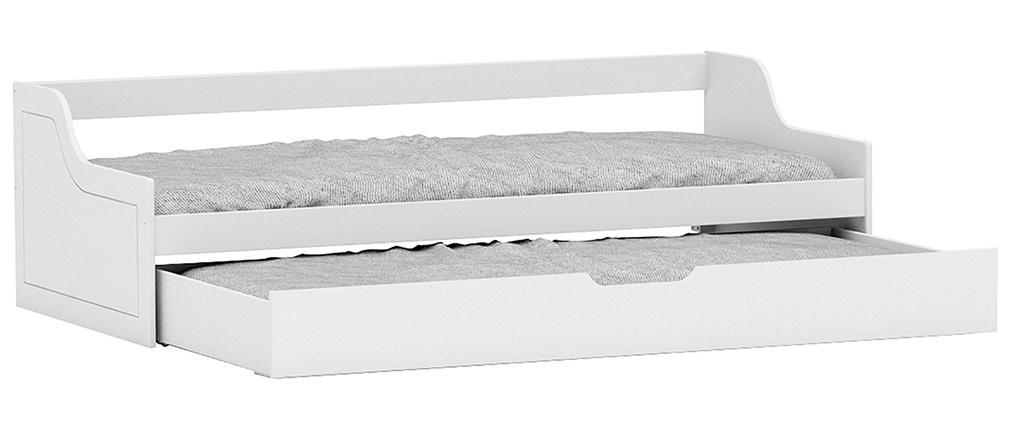 Lit banquette enfant à tiroir 90x200 pin blanc THEO
