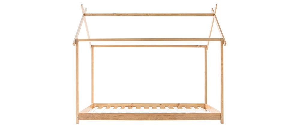 Lit cabane enfant avec sommier 90 x 200 cm en bois KBANE