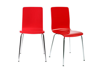 Lot de 2 chaises design cuisine rouges NELLY