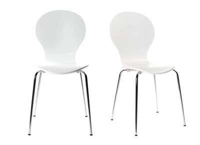 Lot de 2 chaises design empilables blanches NEW ABIGAIL