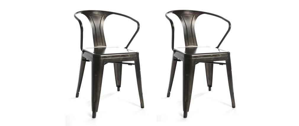 lot de 2 chaises design industriel métal inox factory - miliboo - Chaise Metal Industriel Pas Cher