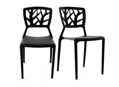 Lot de 2 chaises design noires empilables KATIA