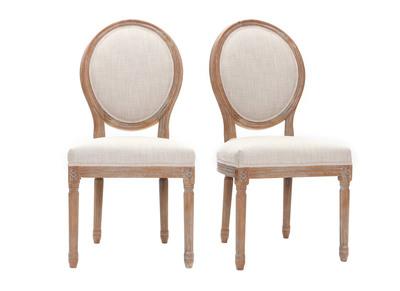 Lot de 2 chaises en tissu coloris naturel pieds bois clair LEGEND
