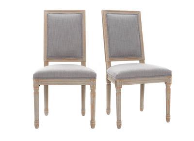 Lot de 2 chaises en tissu gris clair pieds bois clair AMAURY