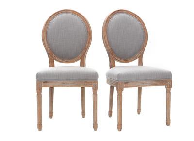 Lot de 2 chaises en tissu gris clair pieds bois clair LEGEND