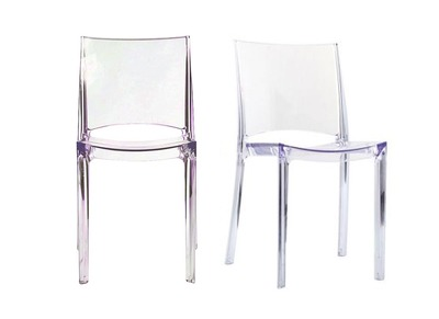 Lot de 2 chaises transparentes empilables design KALYA