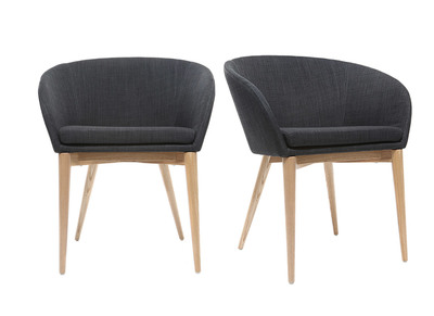 Lot de 2 fauteuils design gris DALIA