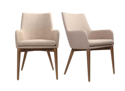 Lot de 2 fauteuils design polyester beige SHANA